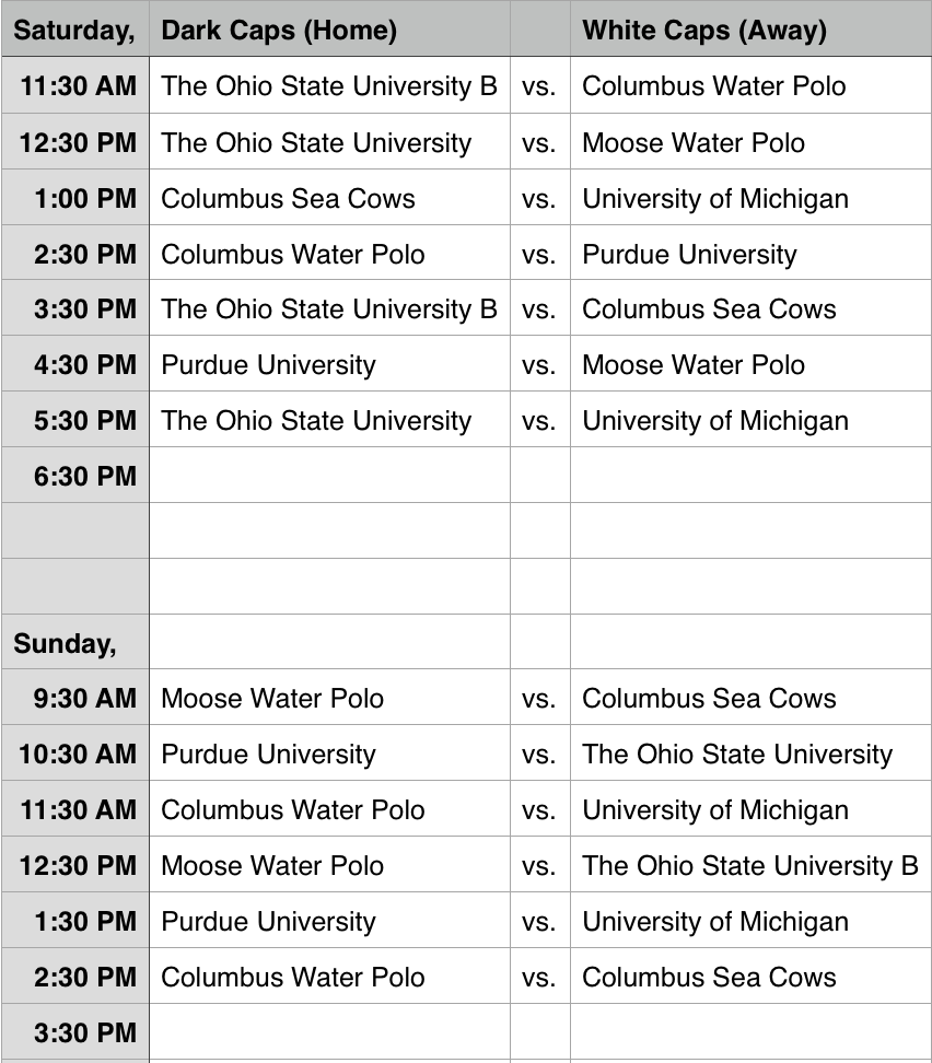 2014 Buckeye Invitational Schedule