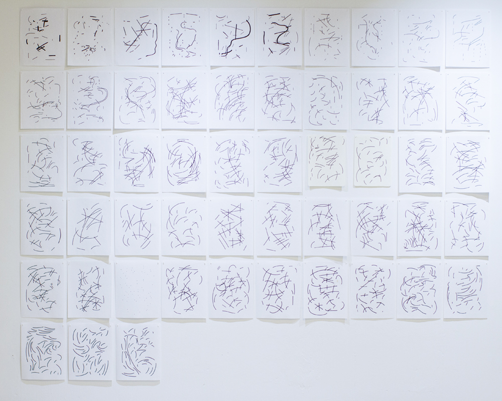 """Cathect -   [53 of 95] - 8.5"""" x 11"""" pigment drawings— mind maps with content removed from daily letters written to undisclosed recipients during the summer of 2017."""