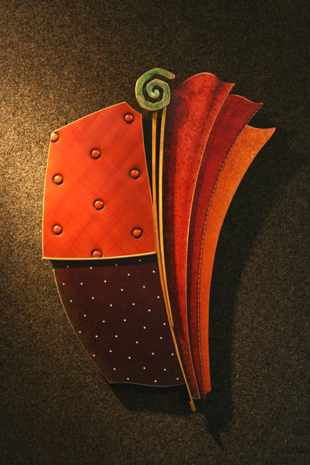 """Shape Pattern and Swirl, 25.5""""h x 18""""w. Copper, brass and aluminum."""