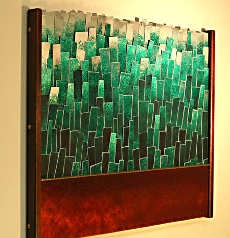 """Emerald City, 23""""h x 26""""wCopper, brass and aluminum with cherry edges"""