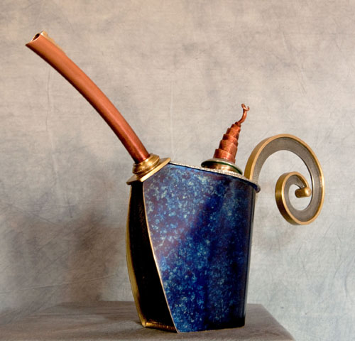 """Teapot in Blue, Brass, copper and pewter, approx. 9""""h x 11"""" w x 2.5""""d"""