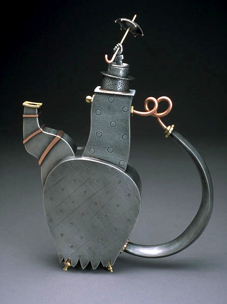 """Rainy Day Teapot, Pewter, copper and brass, approx 11""""h"""