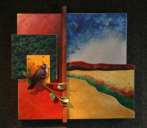 """Robin Landscape, 20.5""""h x 22""""wCopper, brass and aluminum with walnut element ."""