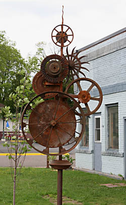 Large wheel sculpture