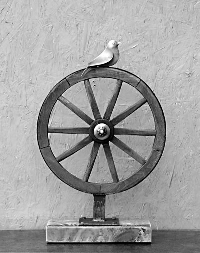 "25"" x 16"" Bird and Wheel"