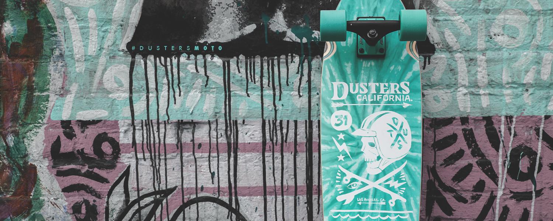 Dusters California teal moto cruiser skateboard