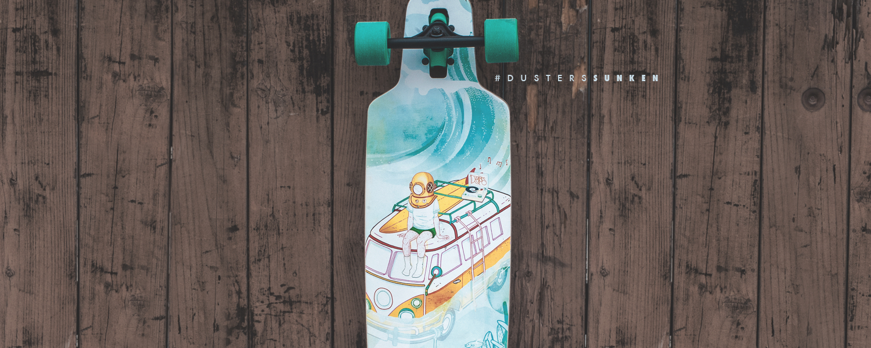 Dusters California aqua teal sunken longboard dropthrough