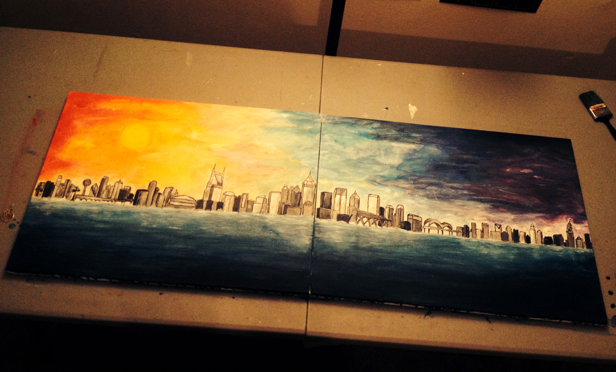 A skyline that combines all the cities I travelled to in the year 2014.  Left to Right:  Los Angeles, Knoxville, New Orleans, Nashville, Atlanta, Richmond, Memphis, Charlotte and NYC.