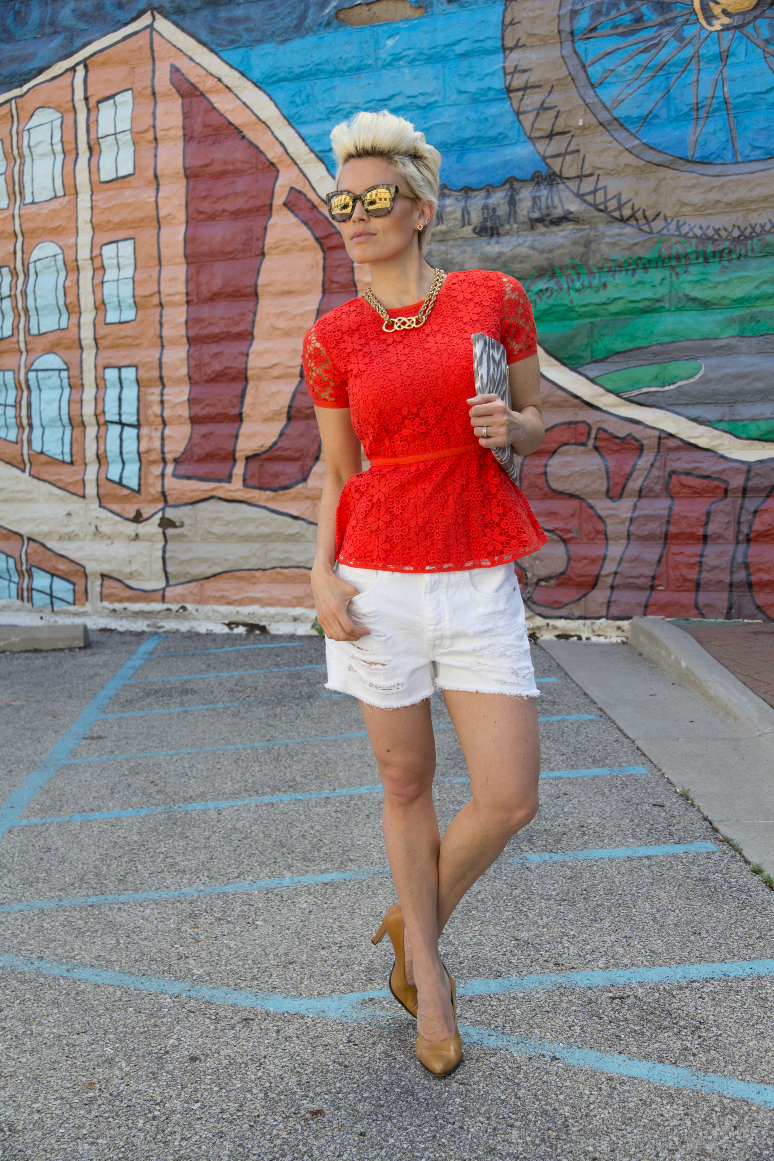 Images by  Bello' Romance Photo  graphy     Sunglasses, earrings, necklace, peplum top and clutch from  C Wonder  / denim from American Eagle / shoes vintage Italian