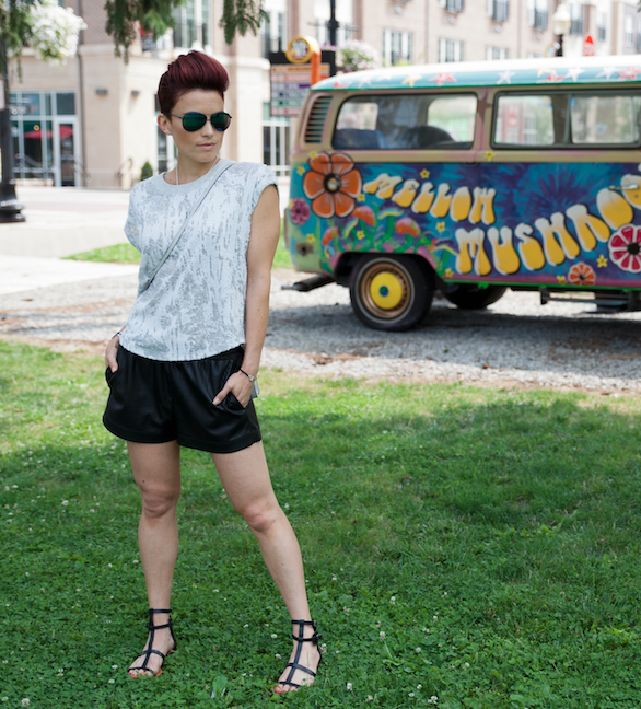 Images by  Bello' Romance Photography and painted van by  Semperfly Studios     T'shirt by Townsen from  Saks 5th Ave Indy  / leather shorts and sandals from BCBG Maxazria / clutch from Rebecca Minkoff / Bracelet and necklace from  Suetables