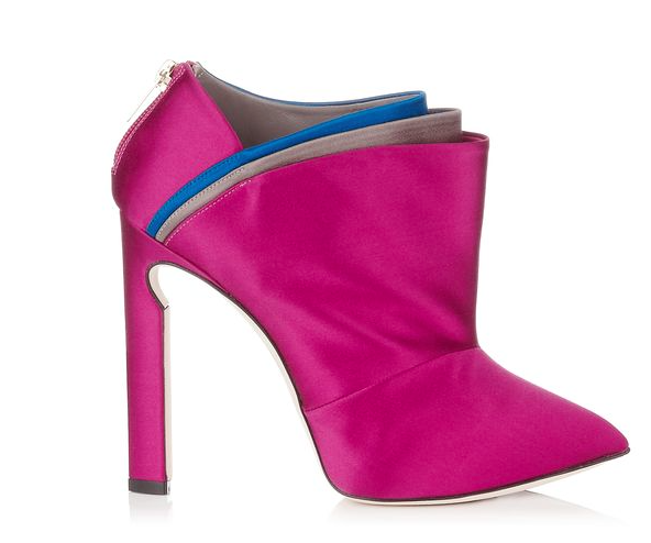 Dark Orchid and Multi Satin Ankle  Booties