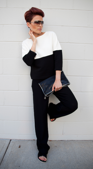 Images by  Bello' Romance Photography     Pants by Eileen Fisher / Top by Alice & Olivia / Sandals by Sam Edelman / Clutch by Stella McCartney all available at  Saks Fifth Avenue .