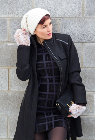 Images by  Avorio Photography  and  Bello Romance Photography     Jacket by  Vince Camuto / Dress by Theory , Mittens by Saks, Hat by Portolano from  Saks  / Bag by C Wonder