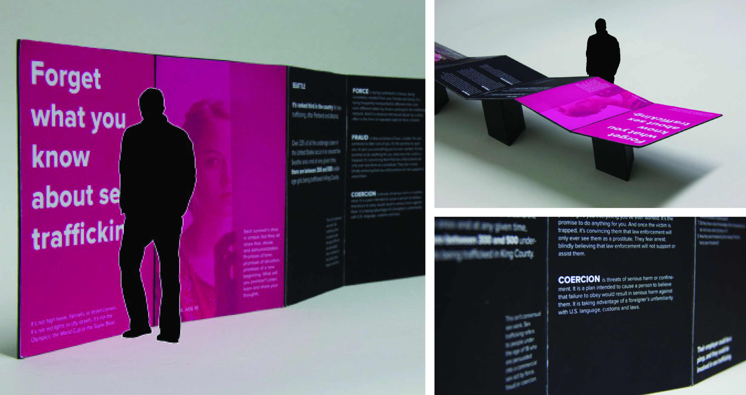A table displaying information in the center of the exhibition doubles as a traveling exhibit, allowing for education on sex trafficking to reach a larger audience.