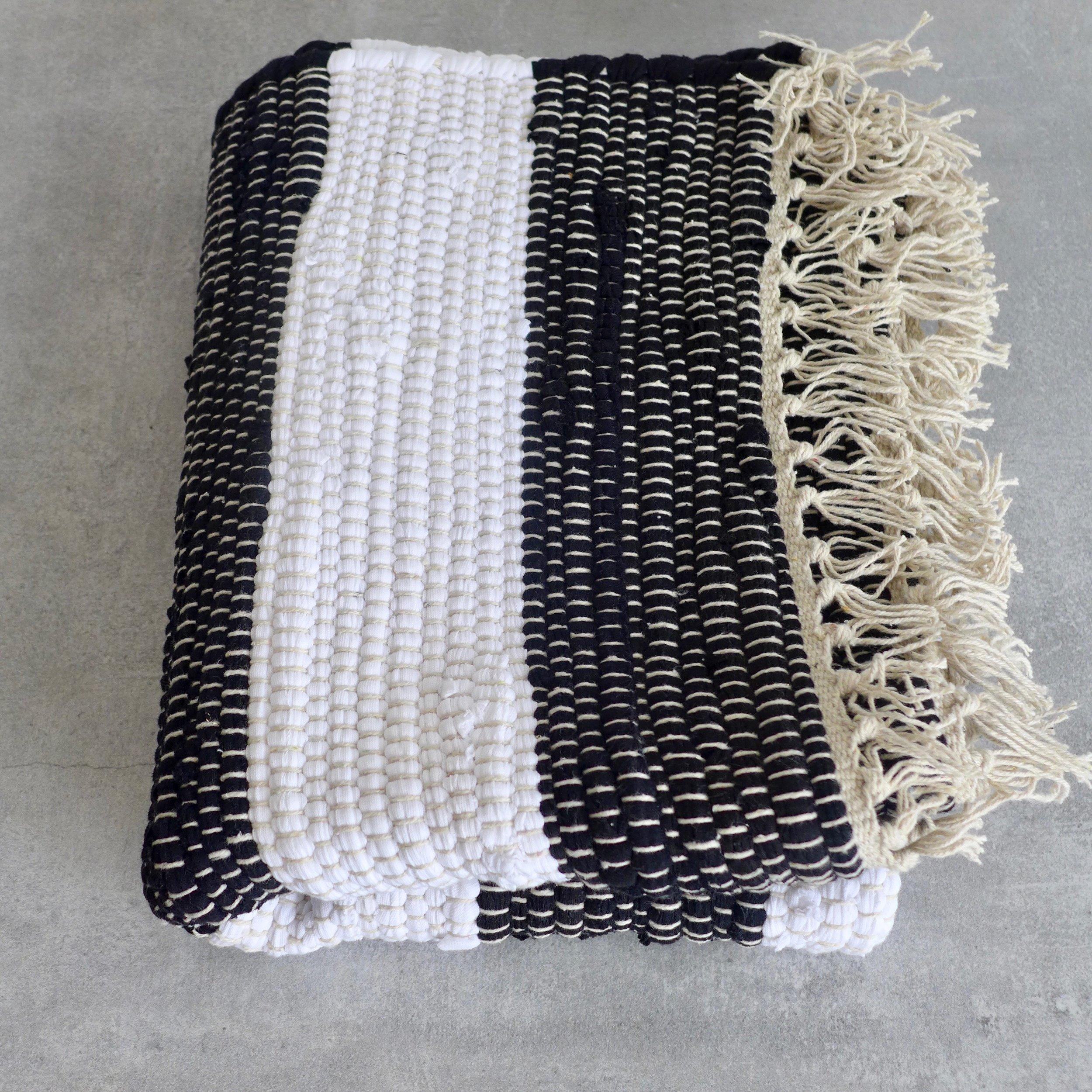 Picture of: Black White Stripe Bath Mat 90cm X 60cm