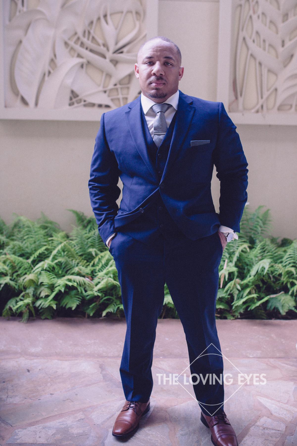 Groom portrait at wedding in Hawaii
