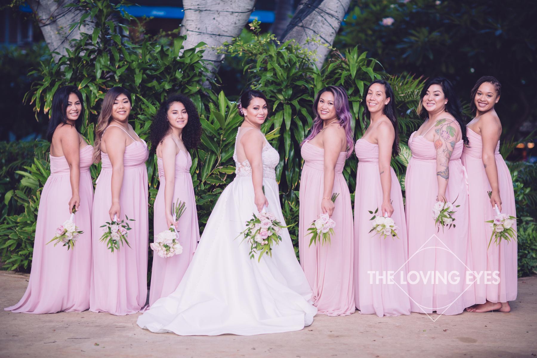 Bride and Bridesmaids on wedding day at Hilton Hawaiian Village Rainbow Suite in Waikiki