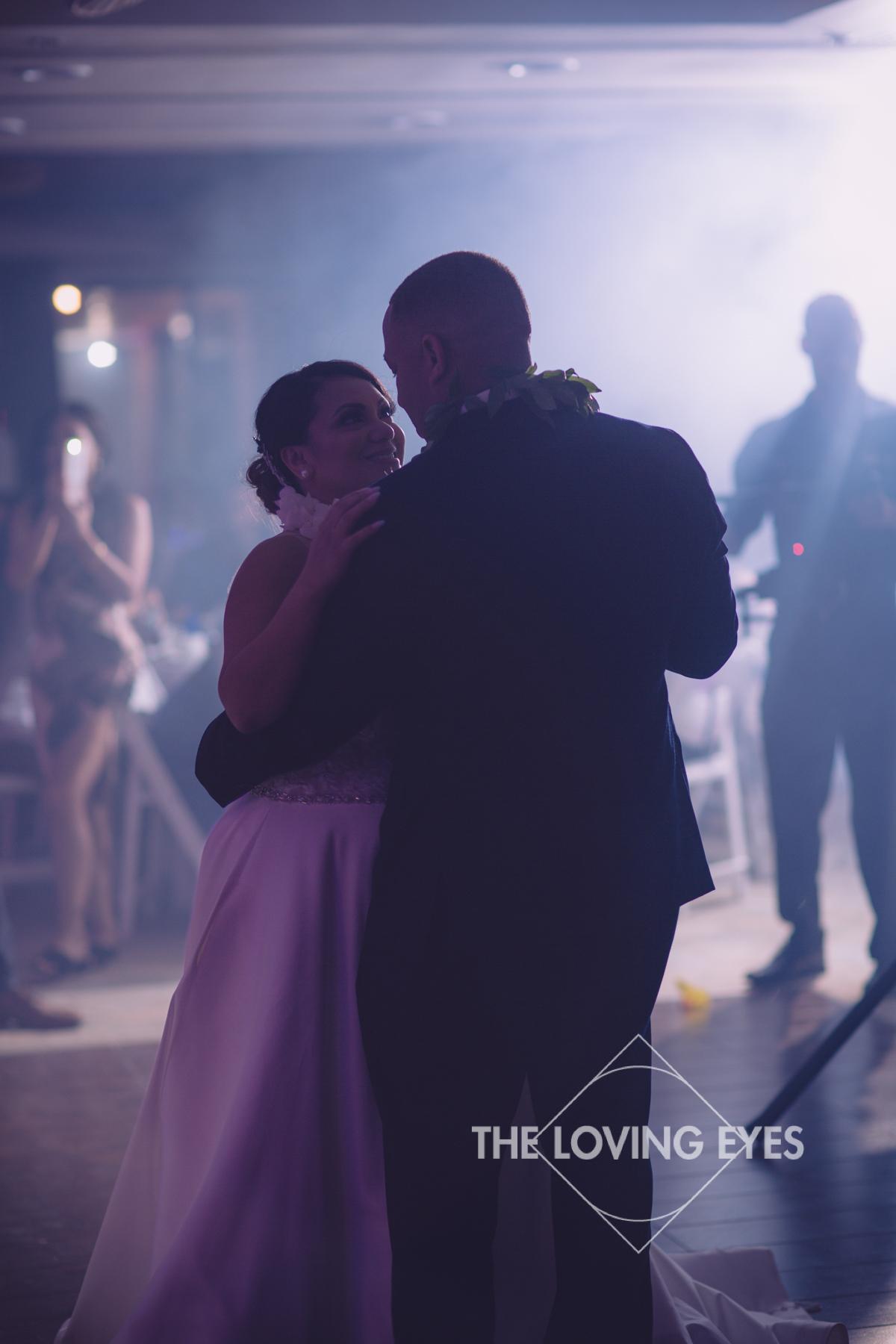 First Dance as Bride and Groom on wedding day at Hilton Hawaiian Village Rainbow Suite in Waikiki