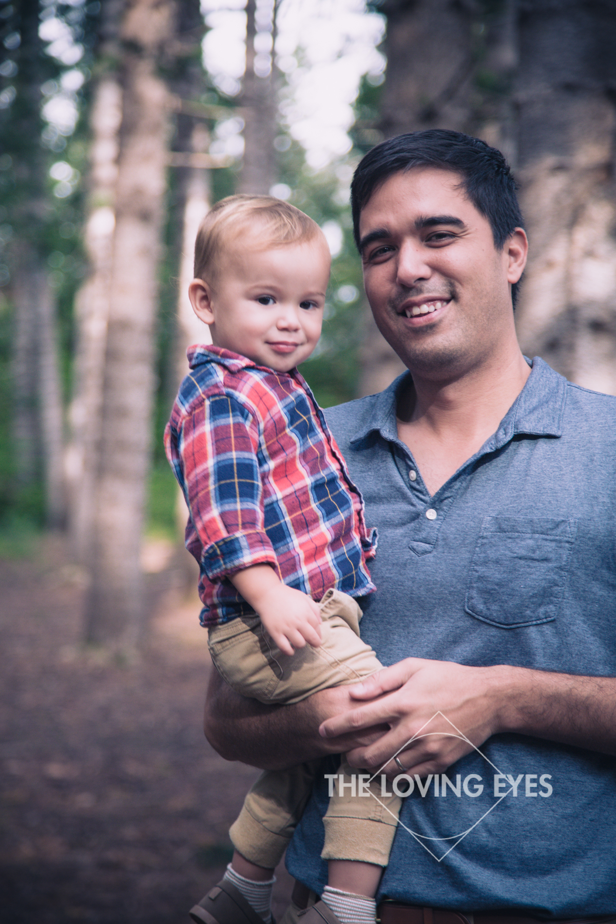 Father and Son photo in the woods for Christmas