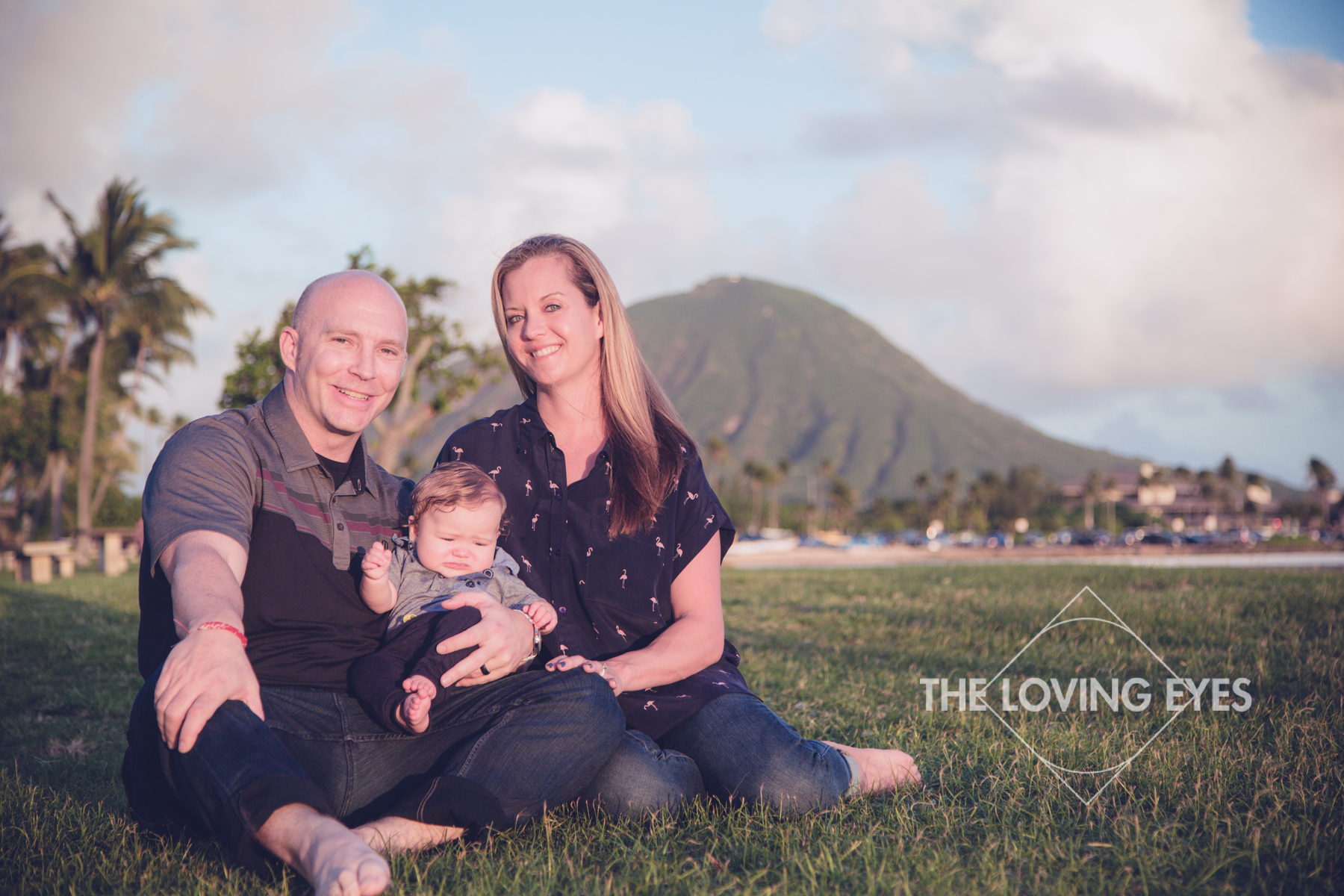 Family portrait during vacation in the park in Kuliouou Hawaii