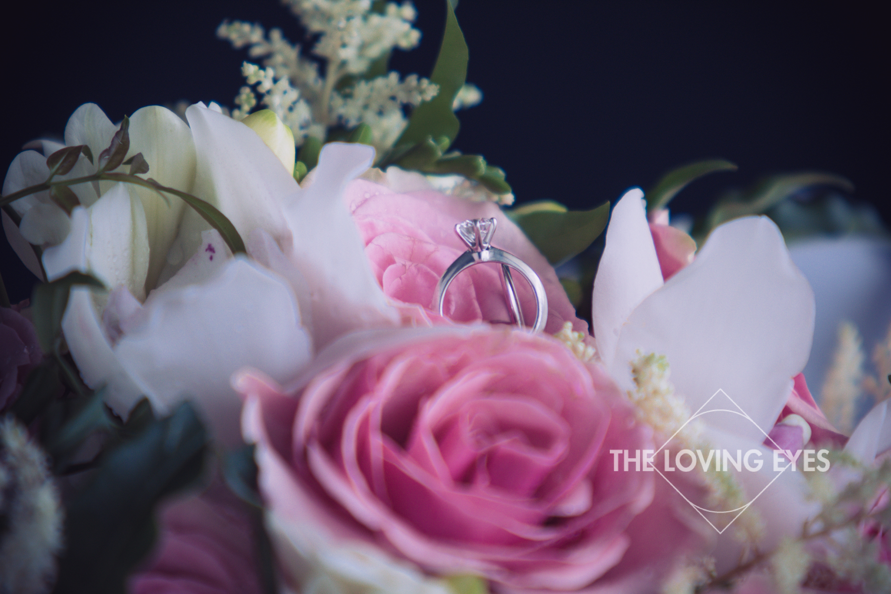 Wedding ring and bridal bouquet