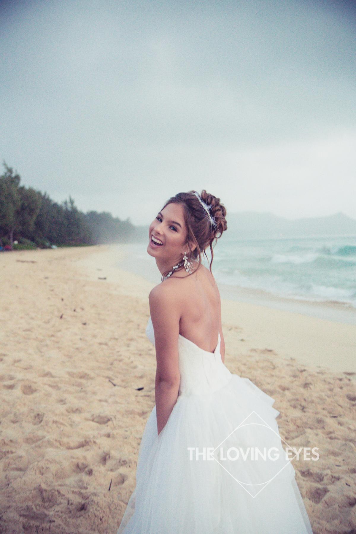 Fun Quincennera photo on the beach in Hawaii