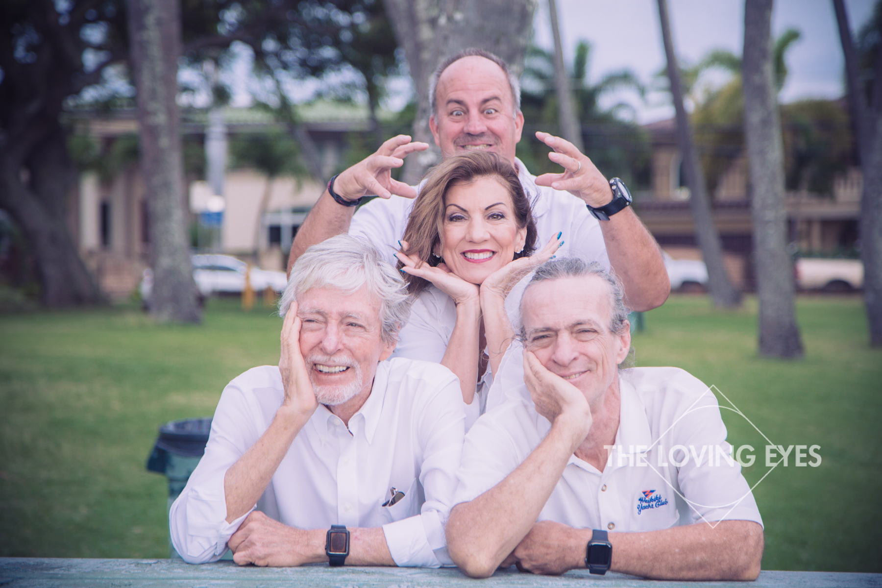 Fun family portrait on the beach in Hawaii