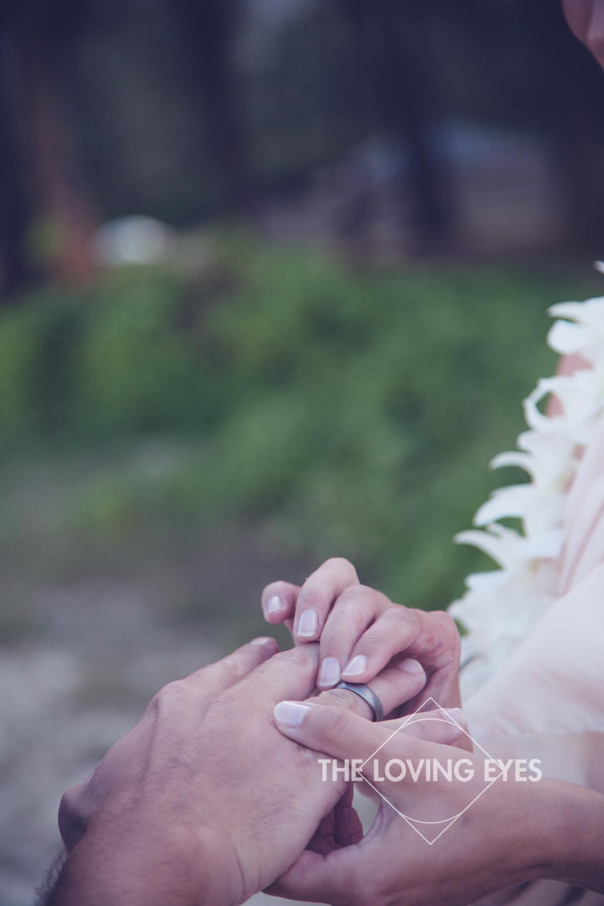 Wedding ring at Hawaiian beach elopement