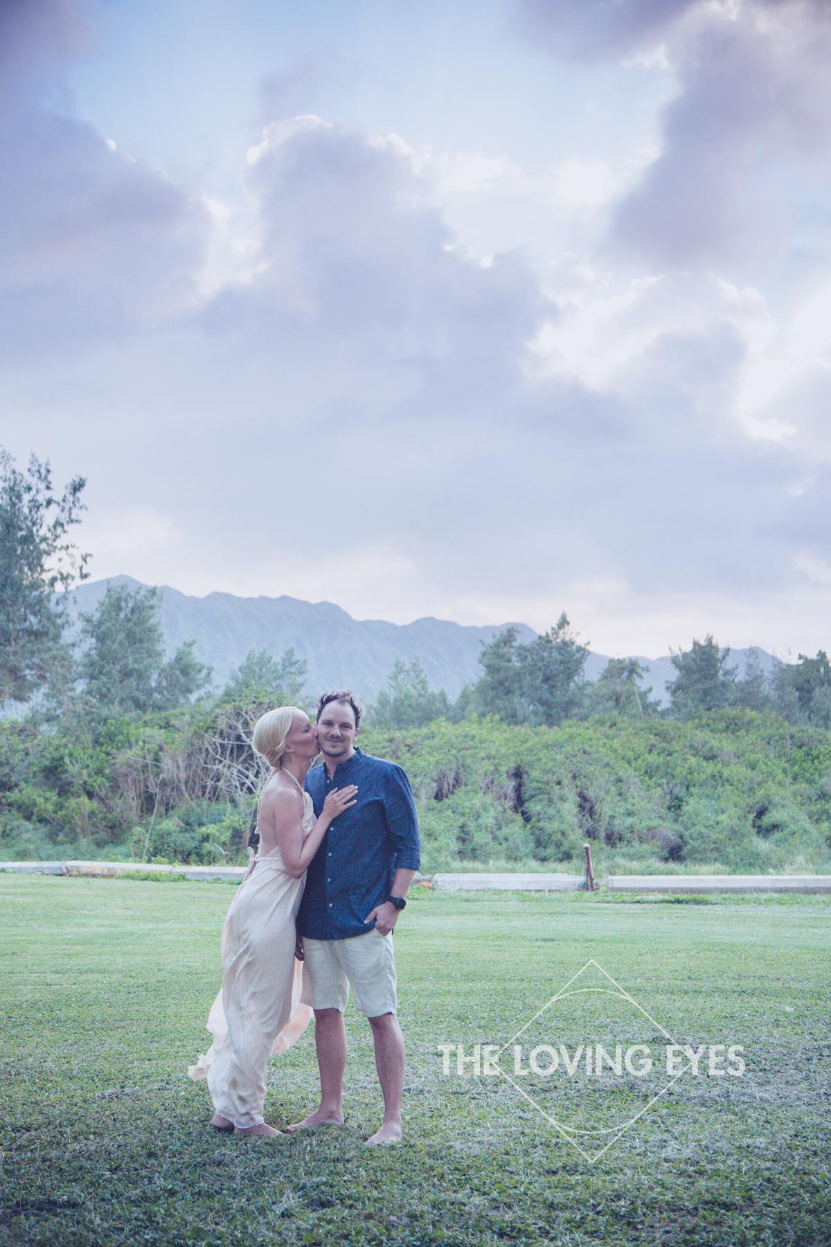 Bride and groom in Waimanalo in Hawaii