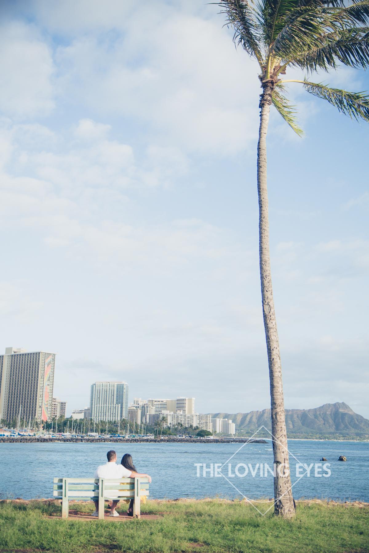 Hawaii engagement photo at Ala Moana Beach Park