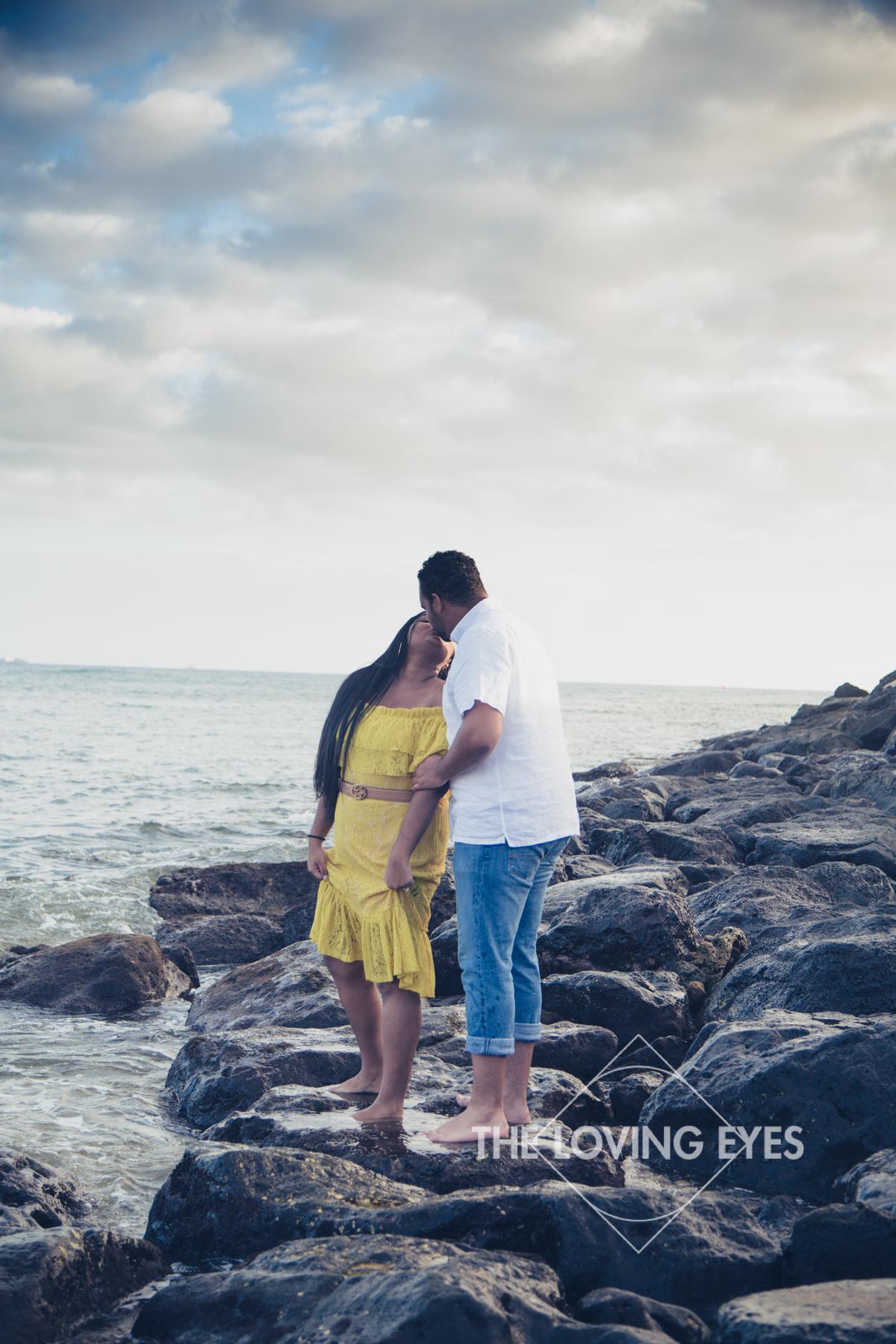 Hawaii engagement photo on the beach at Ala Moana Beach Park