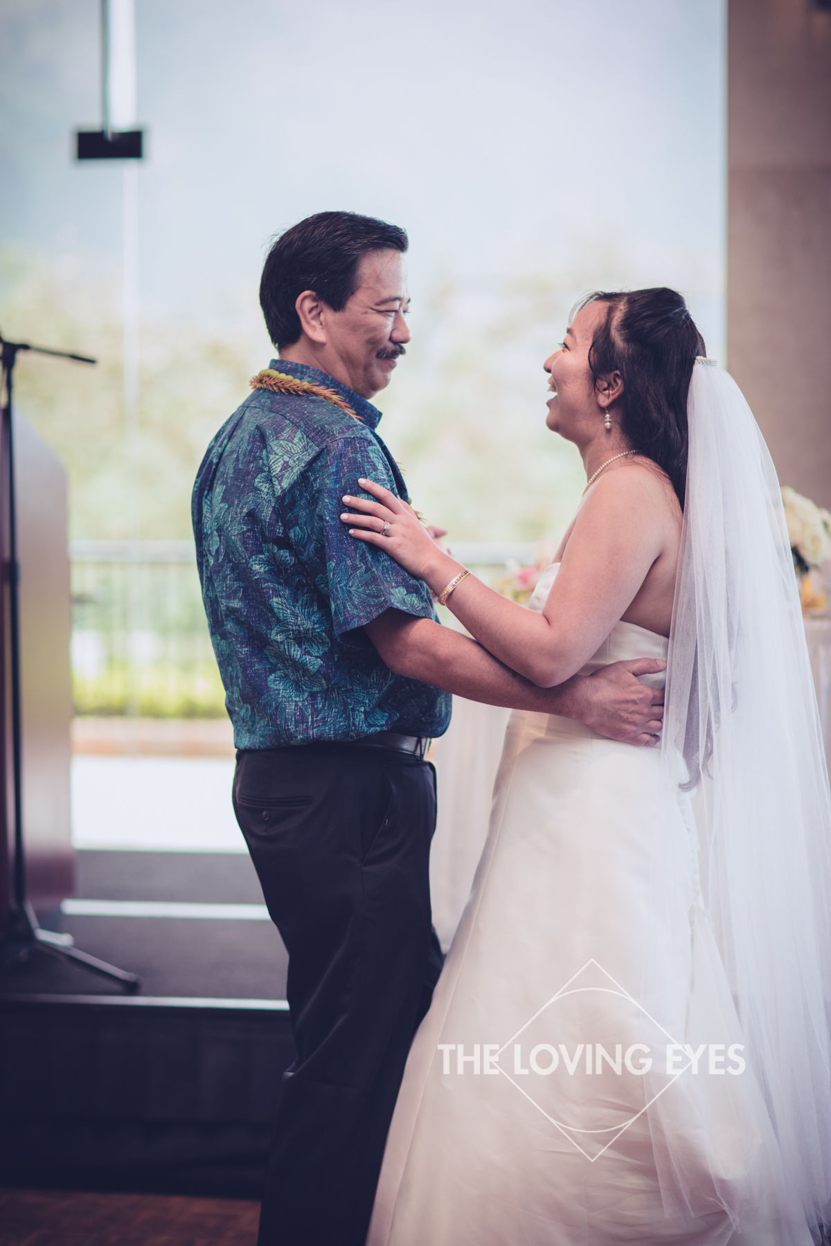 Father daughter dance during Wedding reception at Koolau Ballroom in Hawaii