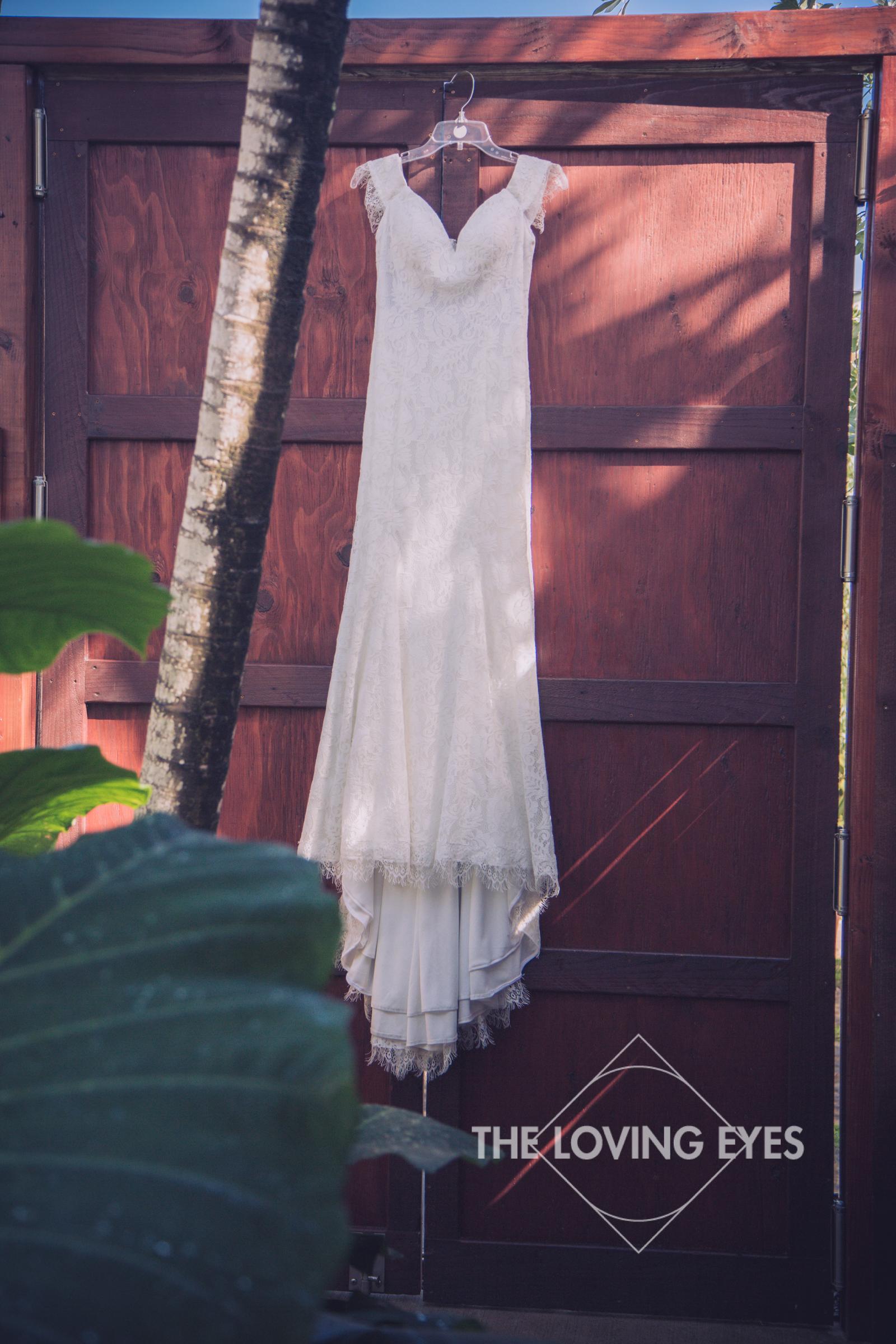 Wedding gown at the Tiki Moon Villas in Hawaii