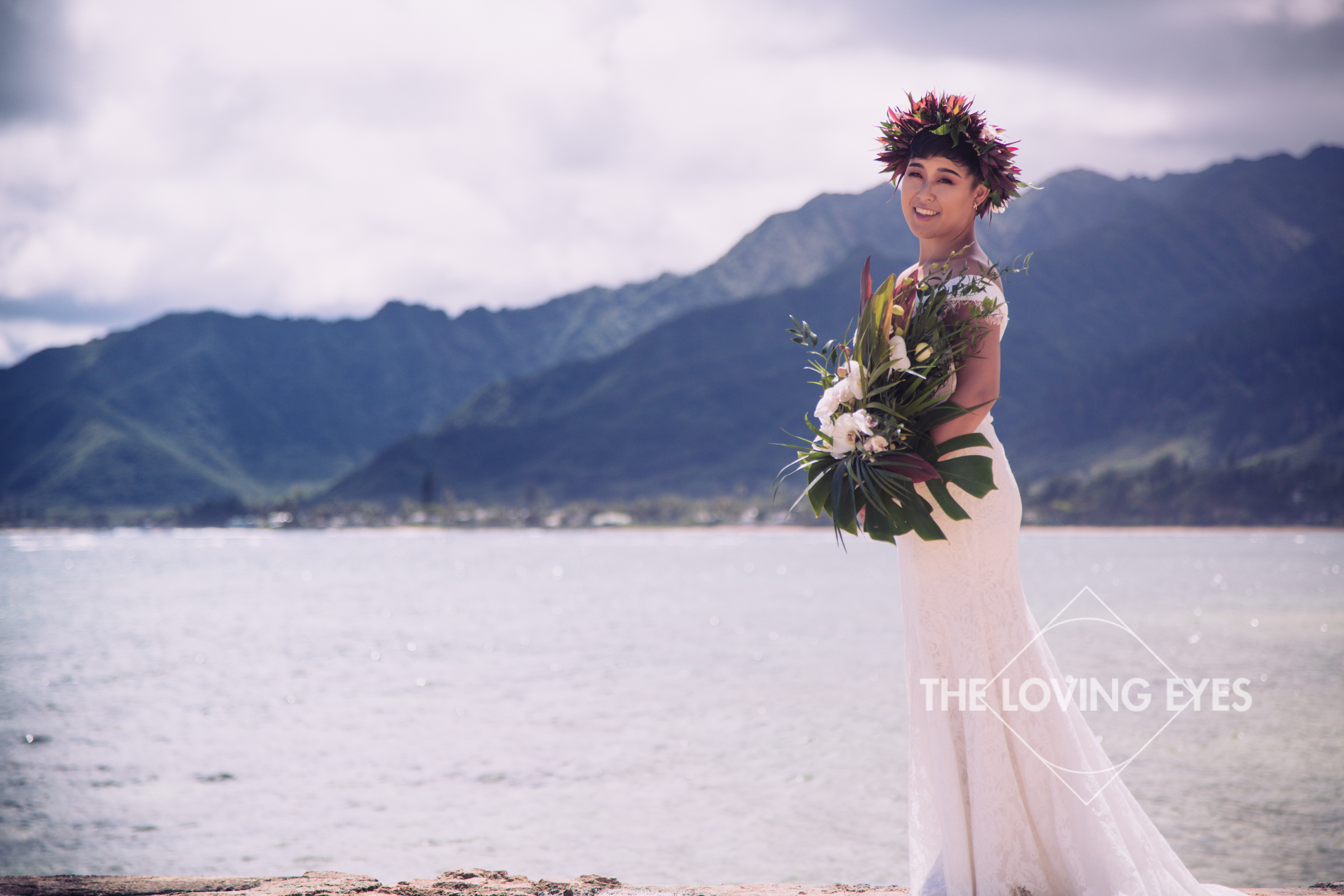 Bridal portrait on the beach at the Tiki Moon Villas in Hawaii