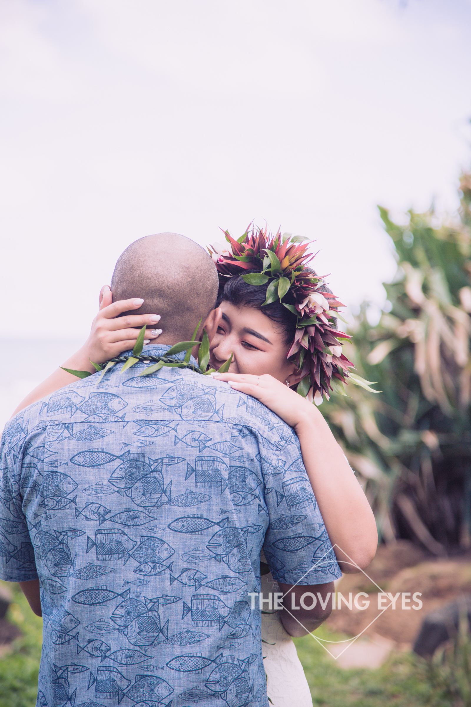 Bride and groom first dance at the Tiki Moon Villas in Hawaii