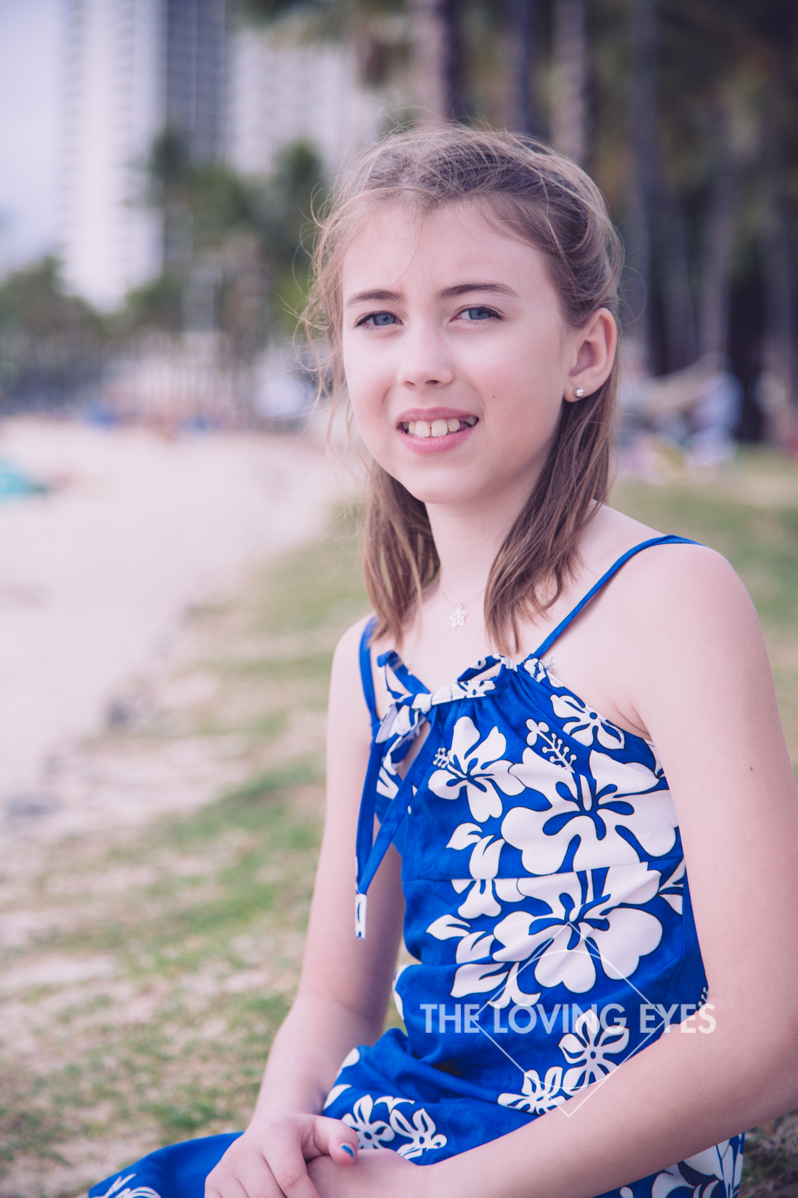 Child portrait on the beach in Waikiki Hawaii