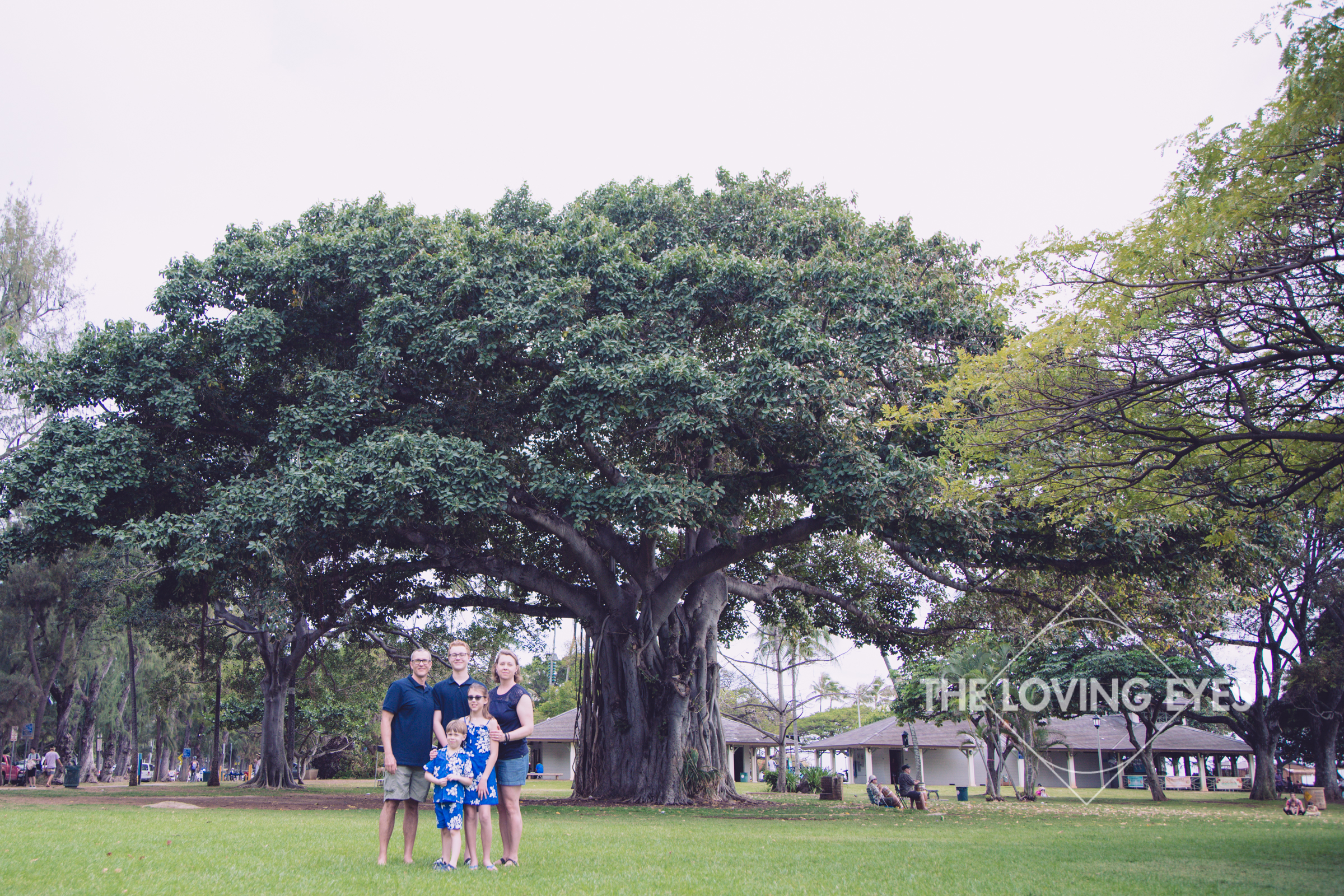 Family vacation photo in the park in Waikiki Hawaii