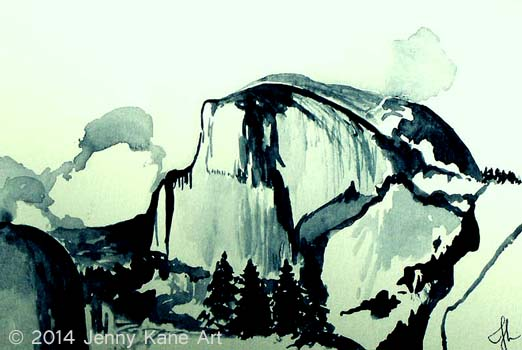 I would like to thank the clients I had the first year I was a guide in the Sierra for Southern Yosemite Mountain Guides.  That summer I was inspired to start painting on and after each trip.  Those paintings and the journals I kept on and off trail have been the inspiration for the dozens of landscape watercolors I have done since.  The image of Half Dome was one of the first paintings I did of Yosemite, back in 2009.  I sent it as a gift to a wonderful client I had that summer.  I hope she still has the original.  Limited Edition prints are available of this piece  here .