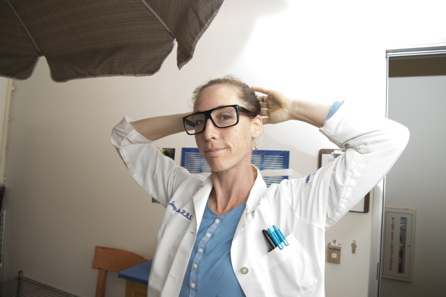Jenny at work, HRS lab coat