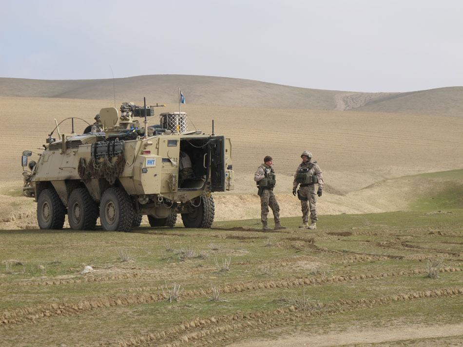 Vagnar grupperade för försvar