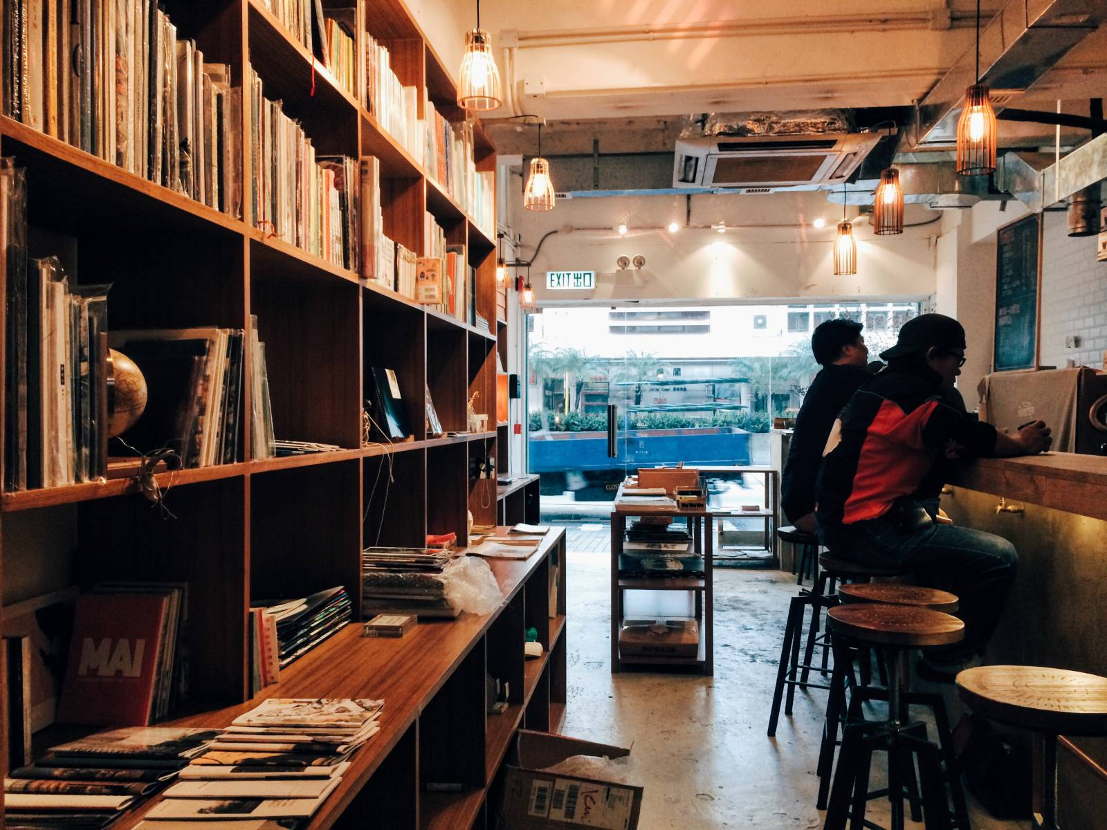 The new coffee shop is now with a bookshop area.