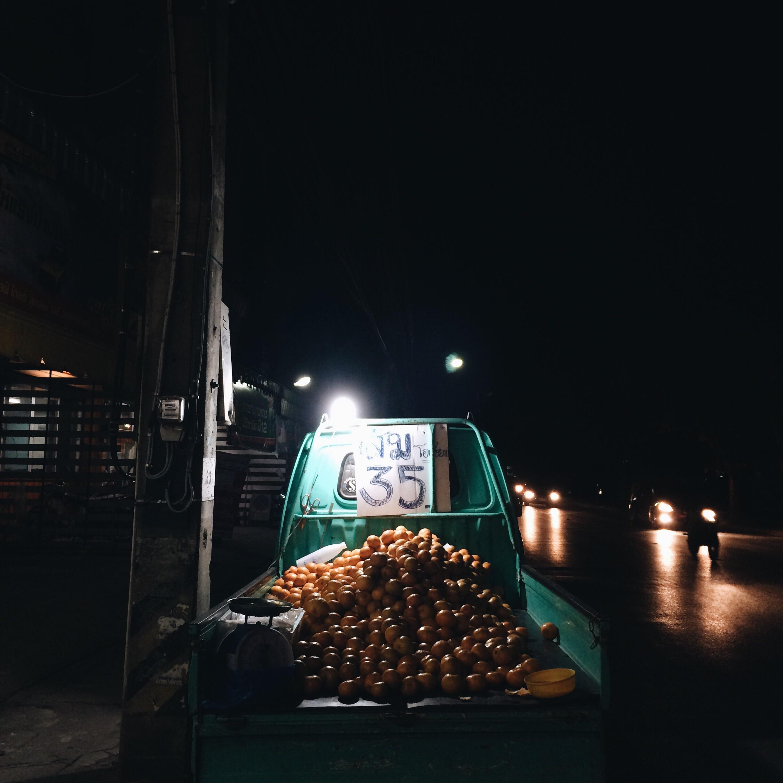 A truck selling oranges,Chiang Rai