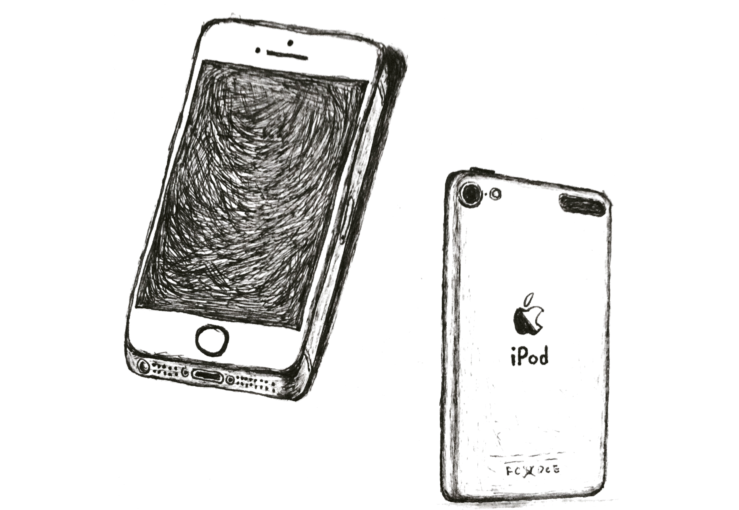 My sketch of iPhone 5s/SE and iPod touch