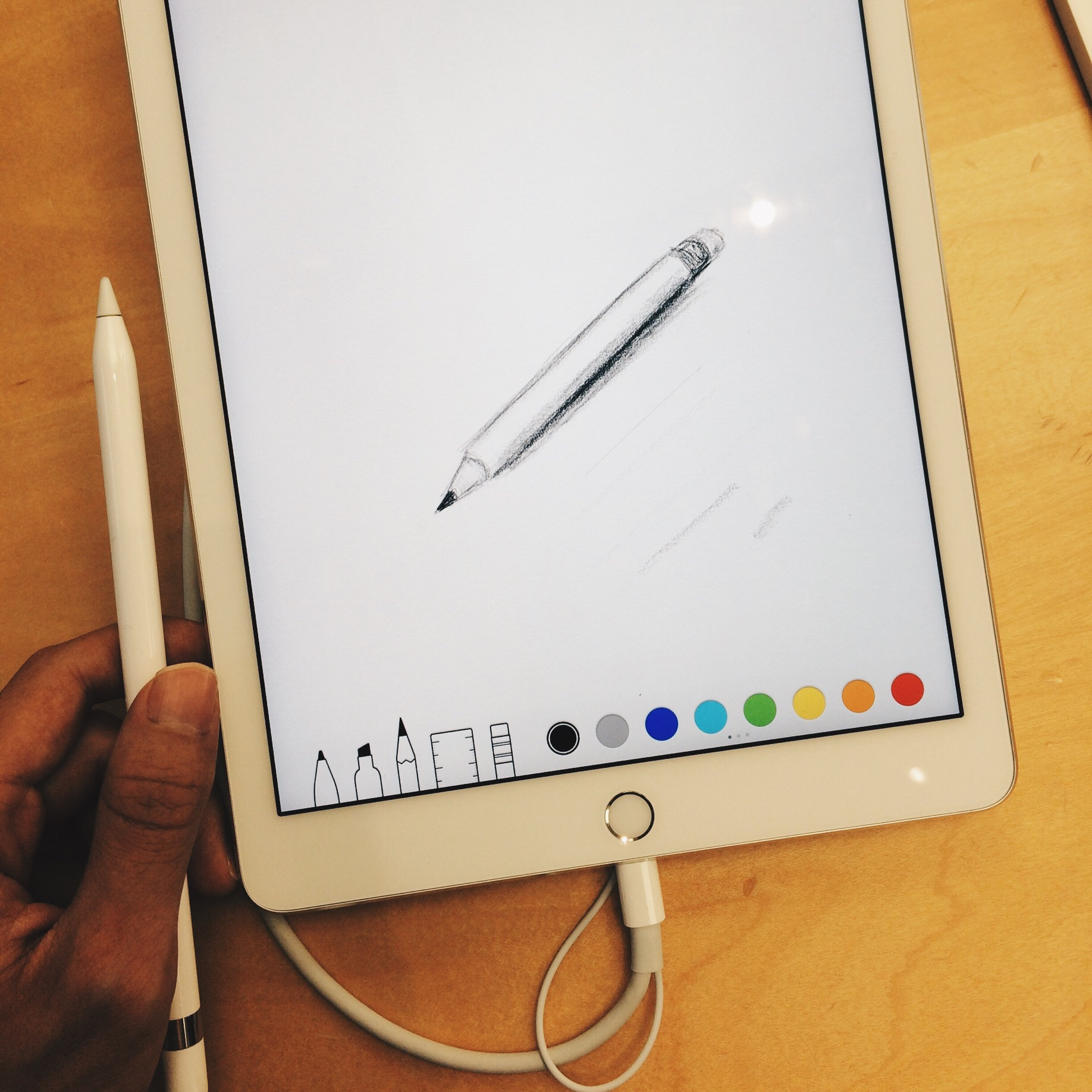 First try of drawing on iPad Pro with Apple Pencil, Apple Store