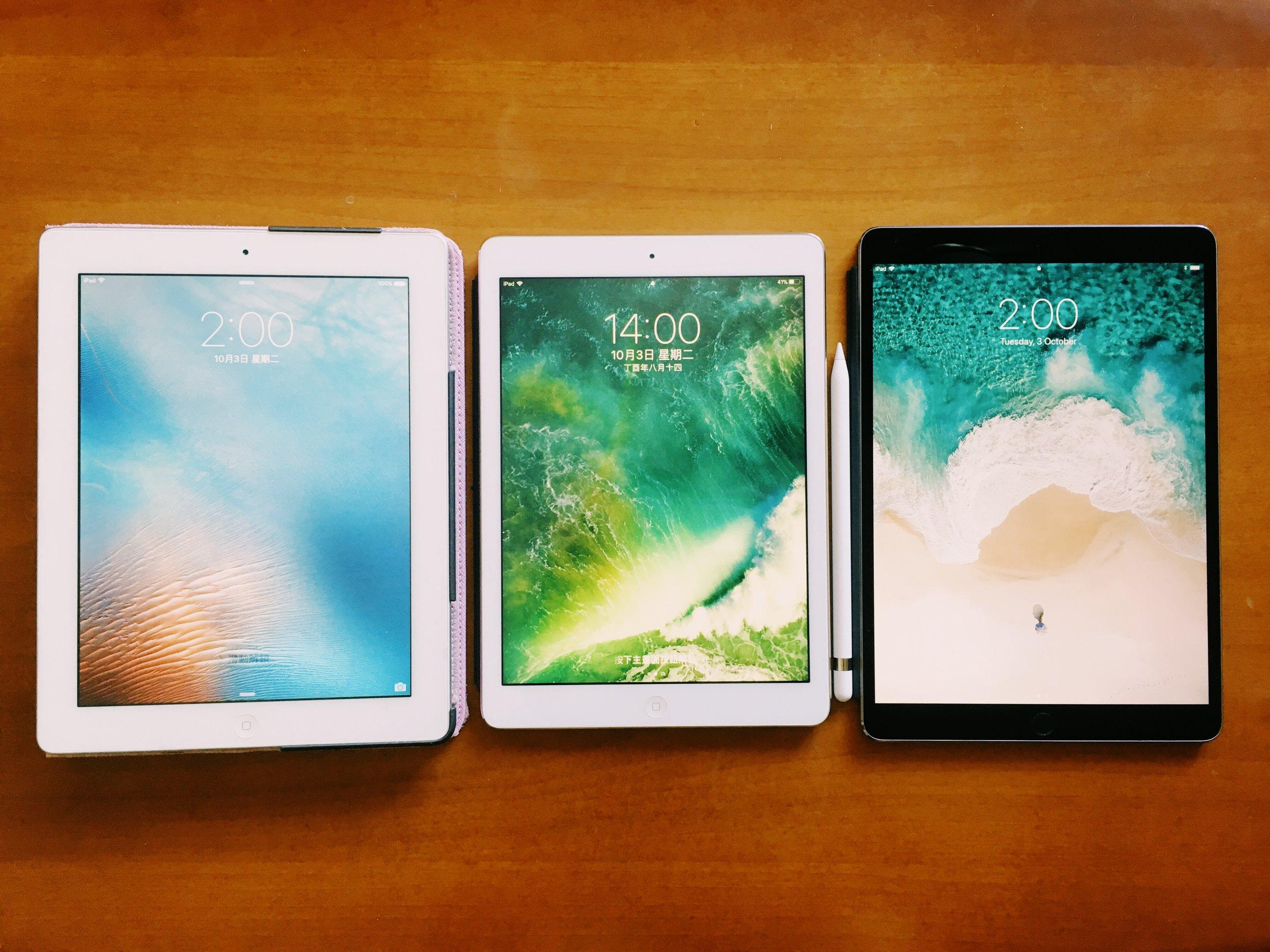 iPad 2, iPad Air and iPad Pro