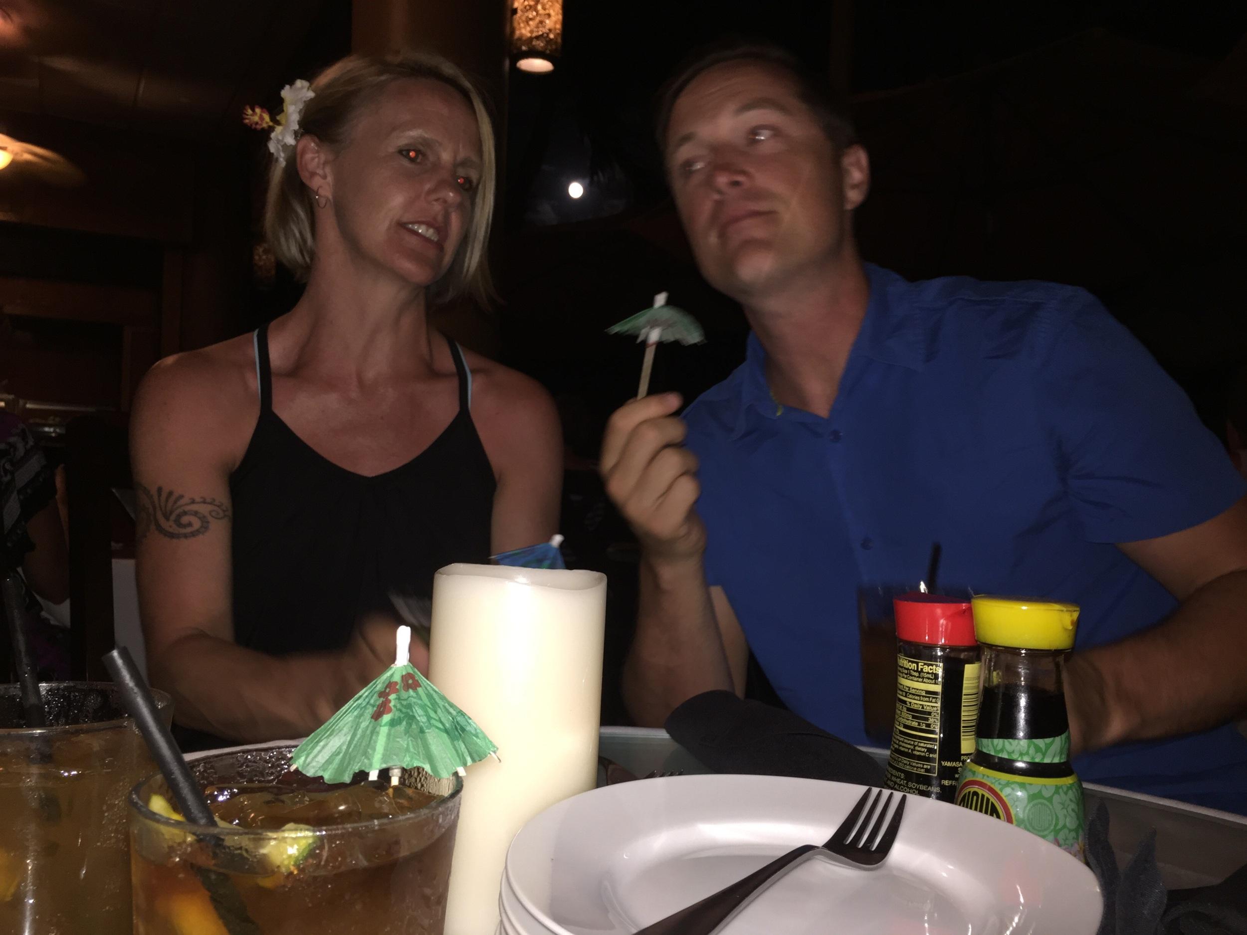 Saira and Cory enjoying a Mai Tai at the Mana Kai