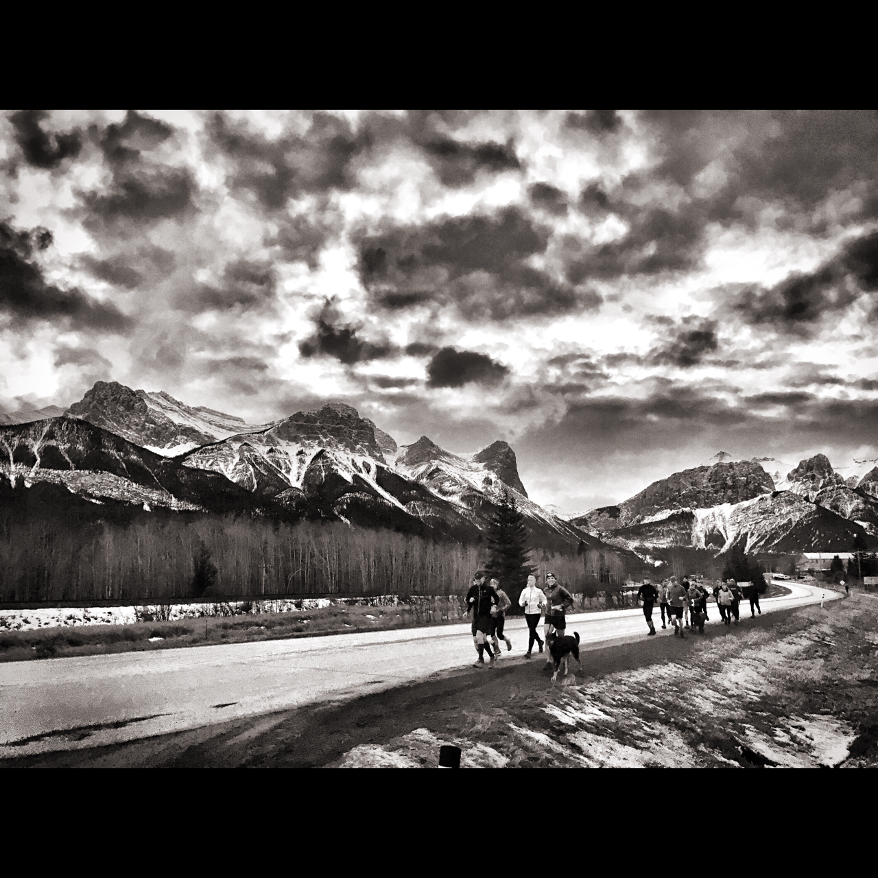 Thursday night 'Dirtbag Runners Bow Valley' - headed to Indian Flats road for some suffer.