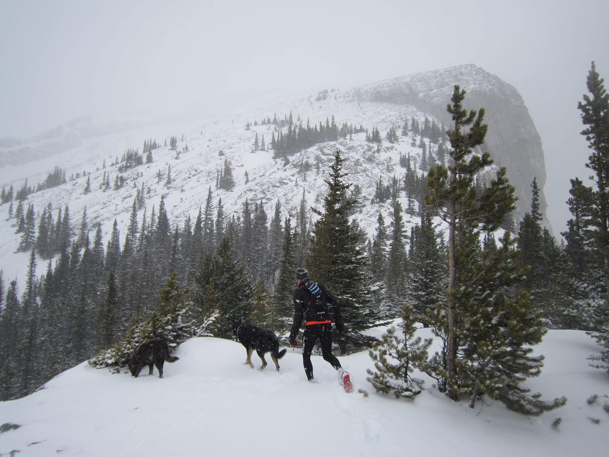 Heading up EEOR in some deep snow.