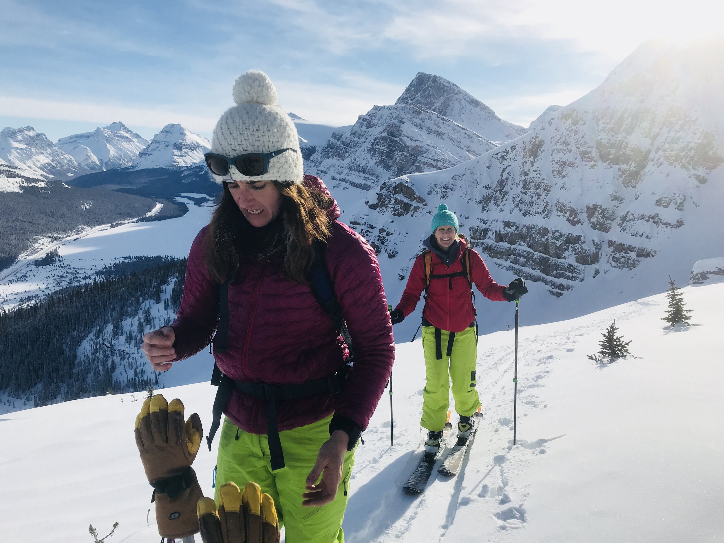 Ski touring on the Icefields Parkway with Emily & James
