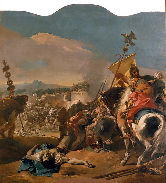 """The Romans destroy Carthage and turn the Mediterranean into  mare nostrum , """" our  sea"""",in 146 BC. (Painting by Giovanni Battista Tiepolo)"""